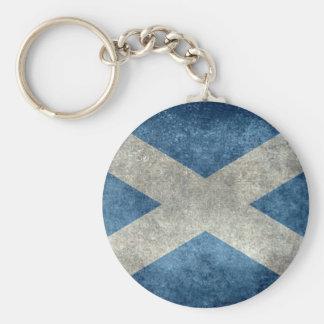 Bandera nacional de Escocia - versión del vintage Llavero Redondo Tipo Pin