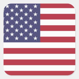 Bandera nacional de Estados Unidos Calcomanías Cuadradass Personalizadas