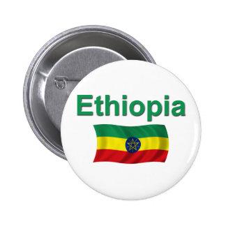 Bandera nacional de Etiopía (w/inscription) Pin Redondo De 2 Pulgadas
