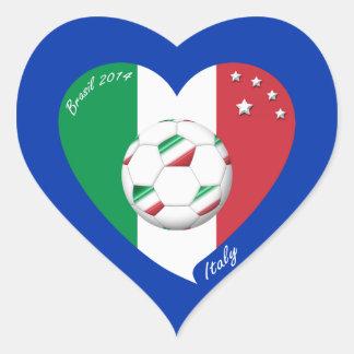 Bandera nacional de ITALIA FÚTBOL del mundo 2014 Calcomanías Corazones