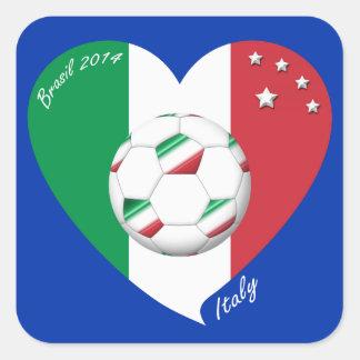 Bandera nacional de ITALIA FÚTBOL del mundo 2014 Calcomania Cuadrada Personalizada