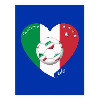 Bandera nacional de ITALIA FÚTBOL del mundo 2014 Tarjeta Postal