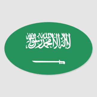 Bandera nacional de la Arabia Saudita Pegatina Ovalada
