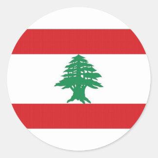 Bandera nacional de Líbano Pegatina Redonda