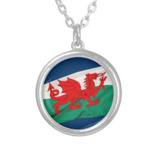 Bandera nacional de País de Gales, el dragón rojo  Colgante Redondo