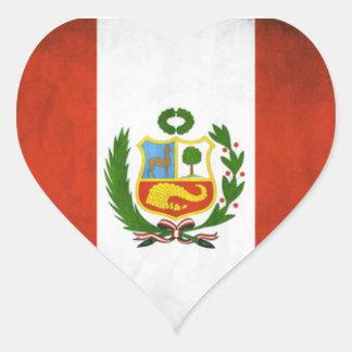 Bandera nacional de Perú Pegatina En Forma De Corazón