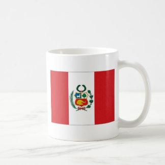 Bandera nacional de Perú Taza Básica Blanca