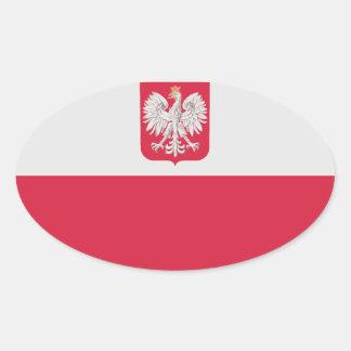 Bandera nacional de Polonia Calcomanía Oval Personalizadas
