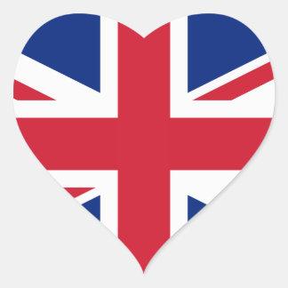 Bandera nacional de Reino Unido Pegatina En Forma De Corazón