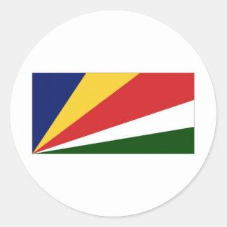 Bandera nacional de Seychelles Pegatina Redonda
