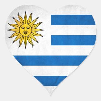 Bandera nacional de Uruguay Pegatina En Forma De Corazón