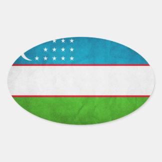 Bandera nacional de Uzbekistán Pegatina Ovalada