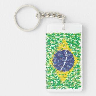 Bandera nacional del fútbol del Brasil (Futebol Llavero Rectangular Acrílico A Doble Cara