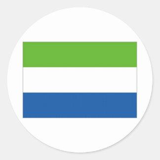 Bandera nacional del Sierra Leone Pegatina Redonda