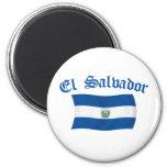 Bandera nacional ondulada de El Salvador Imán De Frigorífico
