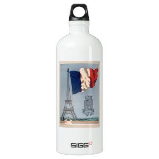 Bandera nacional y torre Eiffel francesas del