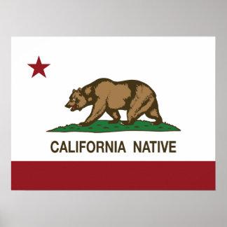 Bandera nativa de la república de California Posters