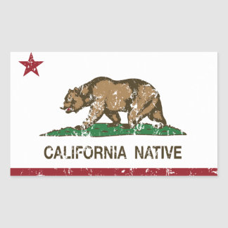 Bandera nativa de la república de California Pegatina Rectangular