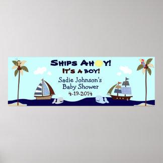 Bandera náutica de la fiesta de bienvenida al bebé poster