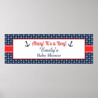 Bandera náutica de la fiesta de bienvenida al bebé póster