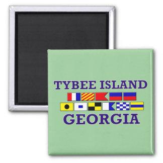 Bandera náutica de la isla de Tybee - imán cuadrad