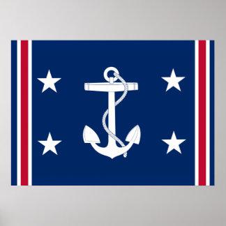 Bandera náutica patriótica del ancla póster