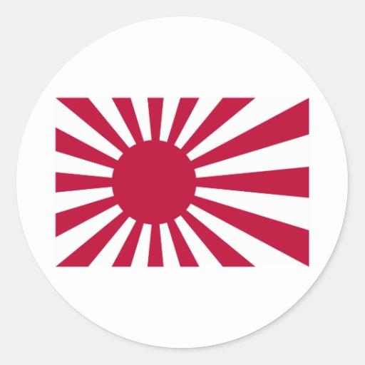 Bandera naval de Japón Pegatina Redonda