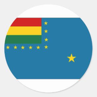 Bandera naval de la bandera de Bolivia Pegatina Redonda