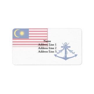 Bandera naval de Malasia, Malasia Etiqueta De Dirección