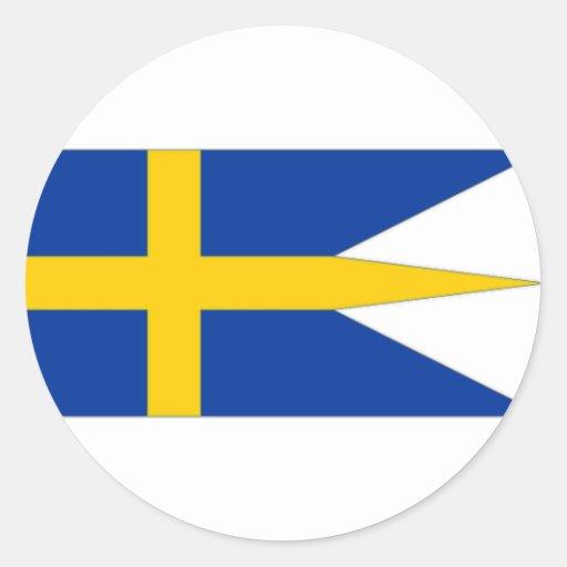 Bandera naval de Suecia Pegatina Redonda