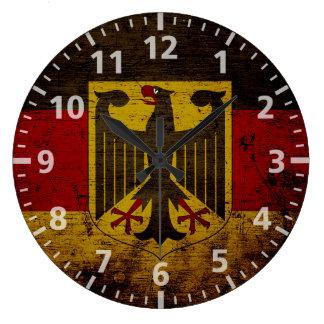 Bandera negra de Alemania del Grunge Reloj Redondo Grande
