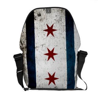Bandera negra de Chicago del Grunge Bolsas De Mensajeria