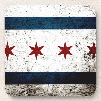Bandera negra de Chicago del Grunge Posavasos De Bebida