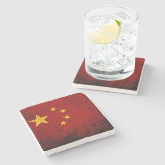 Bandera negra de China del Grunge Posavasos De Piedra