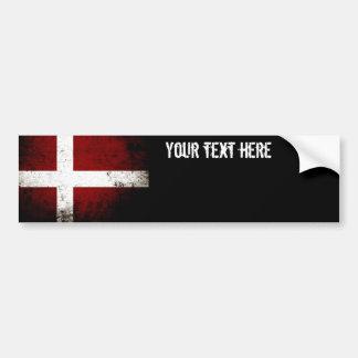 Bandera negra de Dinamarca del Grunge Pegatina Para Auto