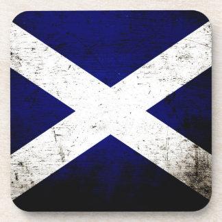 Bandera negra de Escocia del Grunge Posavaso