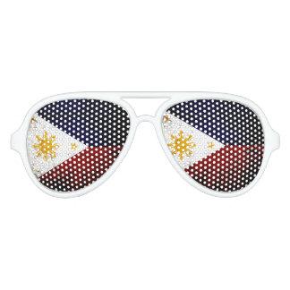 Bandera negra de Filipinas del Grunge Gafas De Fiesta