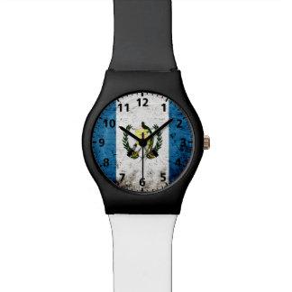 Bandera negra de Guatemala del Grunge Relojes De Mano