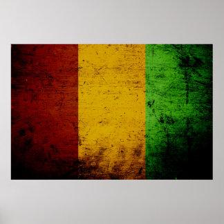 Bandera negra de Guinea del Grunge Póster