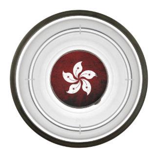 Bandera negra de Hong Kong del Grunge Cuenco Acrílico