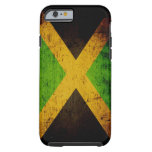 Bandera negra de Jamaica del Grunge Funda De iPhone 6 Tough