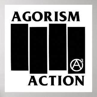 Bandera negra de la acción de la anarquía de Agori Póster