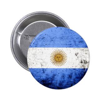 Bandera negra de la Argentina del Grunge Pin Redondo De 2 Pulgadas