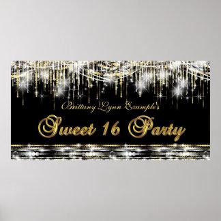 Bandera negra de la fiesta de cumpleaños del dulce póster