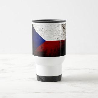 Bandera negra de la República Checa del Grunge Taza De Viaje