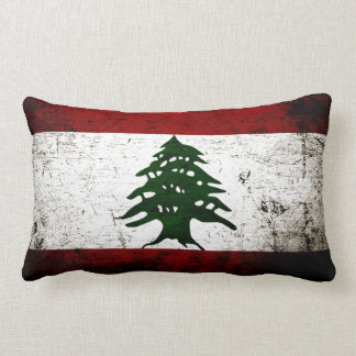 Bandera negra de Líbano del Grunge Cojín Lumbar