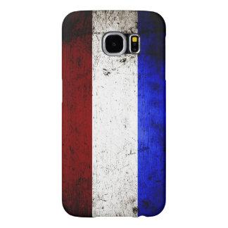 Bandera negra de Países Bajos del Grunge Fundas Samsung Galaxy S6