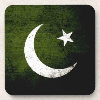 Bandera negra de Paquistán del Grunge Posavasos