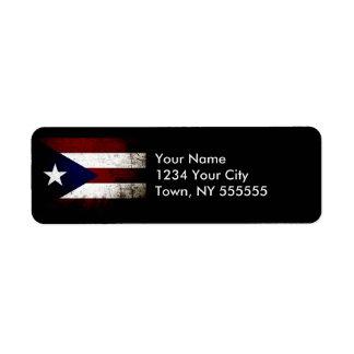 Bandera negra de Puerto Rico del Grunge Etiquetas De Remite