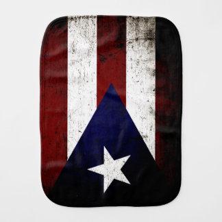Bandera negra de Puerto Rico del Grunge Paños Para Bebé